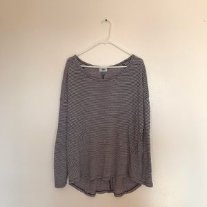 purple and white stripped long sleeve shirt